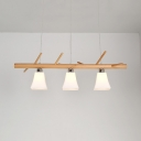 Milk Glass Bell Island Pendant Book Shop 3 Bulbs Nordic Style Island Light in Beige
