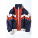 Guys Trendy Vintage Colorblocked Stand Collar Zip Up Sport Casual Track Jacket