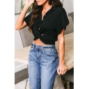 Summer New Trendy Simple Plain Twist Front Button Down Short Sleeve Cropped Shirt Blouse