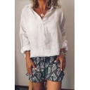 Womens Simple Plain V-Neck Long Sleeve Solid Color Casual Loose Linen Shirt Blouse