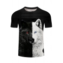 Cool Black and White Wolf Pattern Round Neck Short Sleeve T-Shirt