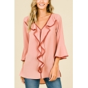 Summer Stylish Solid Color Flutter Hem Flared Sleeve V-Neck Casual Loose Chiffon Blouse