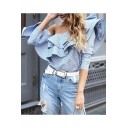 Summer Popular Blue Striped Printed Ruffled Hem One Shoulder Blouse Top for Women