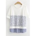 Girls Trendy Star Striped Printed Mesh Panel Round Neck Short Sleeve Casual Tee