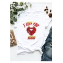 Hot Popular Letter I LOVE YOU 3000 Pattern Loose Fit Graphic Tee