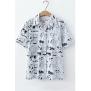 Vintage Comic Character Printed Lapel Collar Short Sleeve Casual Loose Camp Shirt