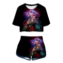 Stranger Things Popular Character Printed Short Sleeve Crop Tee with Dolphin Shorts Two-Piece Set