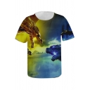 Godzilla King of the Monsters 3D Printed Round Neck Short Sleeve Summer T-Shirt
