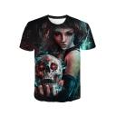 Horror Skull Figure 3D Printed Basic Short Sleeve Regular Fit T-Shirt