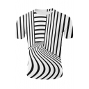 Cool Unique Irregular Striped Pattern Basic Round Neck Short Sleeve Black and White T-Shirt