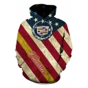 Trendy Star Striped Flag Pattern Long Sleeve Unisex Sport Loose Pullover Hoodie