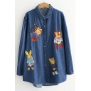 Cute Cartoon Animal Embroidery Long Sleeve Button Down Blue Chambray Shirt