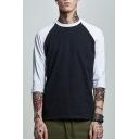 Mens New Stylish Colorblock Raglan Sleeve Round Neck Loose Fit T-Shirt