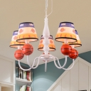 5 Lights Basketball Chandelier Sport Style Metal Resin Pendant Light in White for Boys Bedroom