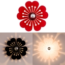 Black/Red/White Floral Wall Light Modern Style Acrylic LED Sconce Light for Child Bedroom