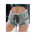 Womens Summer Sexy Night Club Lace-Up Front Distressed Frayed Hem High Rise Hot Pants Denim Shorts