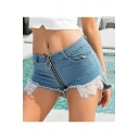 Summer Womens New Stylish Lace Patched High Rise Zipper-Fly Clubwear Hot Pants Denim Shorts