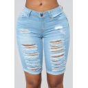 Womens New Stylish Destroyed Ripped Hole Rolled Cuff Skinny Fit Half Denim Shorts