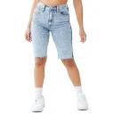Womens Fashion Classic Blue Frayed Hem Skinny Fit Half Denim Shorts