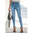 Womens Trendy High Rise Button-Fly Raw Hem Stretch Skinny Fit Jeans