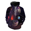 Funny Unique Cool Monster and Earth Printed Purple Sport Loose Pullover Hoodie