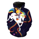 Cartoon Rainbow Unicorn 3D Printed Long Sleeve Pullover Casual Hoodie