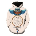 Fashion Eagle Dream Catcher 3D Printed Long Sleeve Sport Loose Pullover Khaki Hoodie