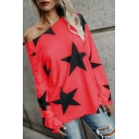 Cool Street Style Allover Star Printed One Shoulder Long Sleeve Casual Loose Cotton Tee