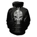 Cool Skull Printed Long Sleeve Black Sport Loose Hoodie