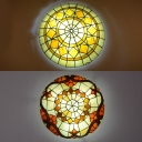 Multi-Color Bowl Ceiling Mount Light Tiffany Vintage Stained Glass Flush Light for Kid Bedroom
