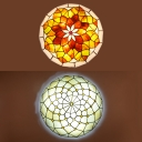 Study Room Bowl Ceiling Lamp with Bead/Lotus Stained Glass Tiffany Rustic Flush Mount Light