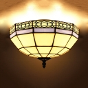 Umbrella Shade Ceiling Mount Light Tiffany Simple Glass Flush Light in White for Restaurant