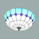 Lattice Domed Flush Mount Light Tiffany Traditional Art Glass Ceiling Lamp for Dining Room