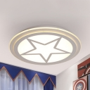 Modern Slim Star Flush Mount Light Acrylic Stepless Dimming/Warm/White Ceiling Lamp in White for Bedroom