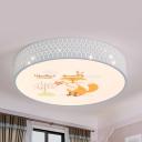 Kindergarten Giraffe/Fox Flush Mount Light Acrylic Lovely Animal White Finish Ceiling Lamp