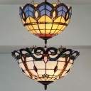 Vintage Tiffany Bowl Ceiling Lamp Stained Glass Inverted Semi Flush Ceiling Light for Living Room Cafe