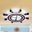 Nautical Blue Flush Ceiling Light Rudder Acrylic LED Ceiling Fixture with Warm/White Lighting for Boys Bedroom