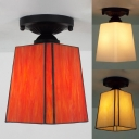 Glass Trapezoid Ceiling Lamp 1 Bulb American Rustic Flush Ceiling Light in Beige/Orange/White for Study Room