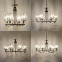 4/6/8/10 Lights Candle Chandelier with Tapered Crystal Shade Country Style Metal Hanging Light in Black for Living Room