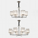Glittering Crystal Cube Chandelier 6/8 Bulbs Postmodern Hanging Light in Chrome for Living Room
