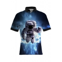 Hot Popular Cool Blue 3D Astronaut Pattern Short Sleeve Fitted Polo Shirt