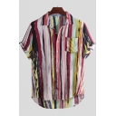 Mens Hot Fashion Rainbow Striped Printed Short Sleeve Button Front Casual Cotton and Linen Shirt