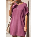 Summer Womens Casual Loose Basic Round Neck Short Sleeve Plain Mini T-Shirt Dress