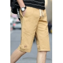 Summer Fashion Simple Plain Drawstring Waist Men's Casual Chino Shorts