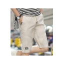 Summer Fashion Letter Patched Drawstring Waist Men's Casual Cotton Shorts