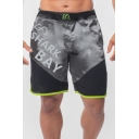 Men's Stylish Letter SHARK BAY Printed Mesh Patched Contrast Trim Sport Athletic Shorts