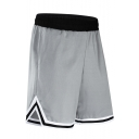 Summer New Fashion Contrast Stripe Trim Elastic Waist Basketball Shorts Casual Sport Shorts