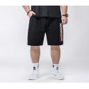 Summer Trendy Letter Printed Drawstring Waist Black Nylon Casual Loose Outdoor Athletic Shorts