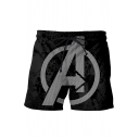 Hot Fashion Letter A Striped Logo Printed Black Quick-Drying Beach Swim Trunks