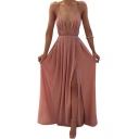 Womens Summer Boho Style Plunging Neck Sleeveless Split Front Plain Maxi Slip Dress